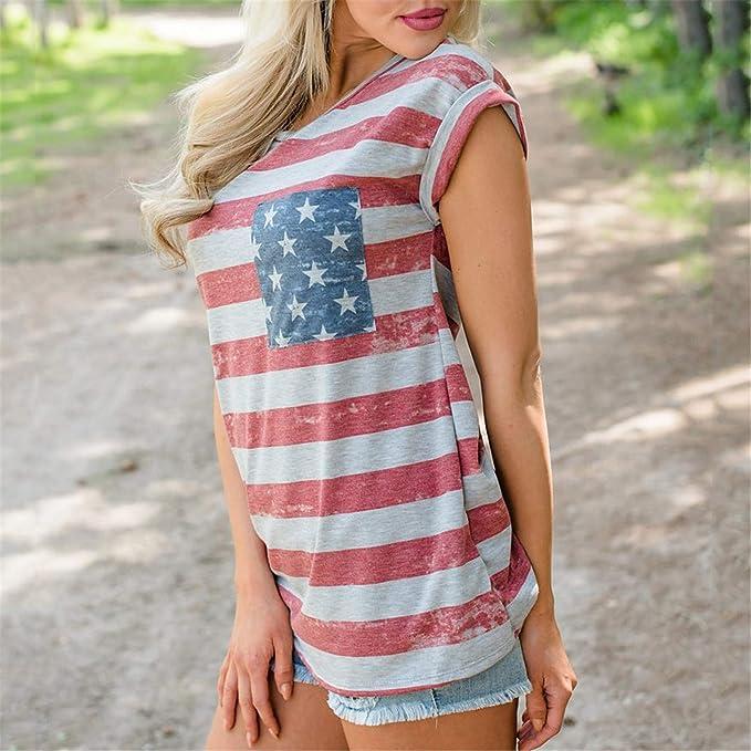 Zalanala Summer Tank Tops for Women Sleeveless O-Neck Patchwork USA Flag Print Pockrt T-Shirt