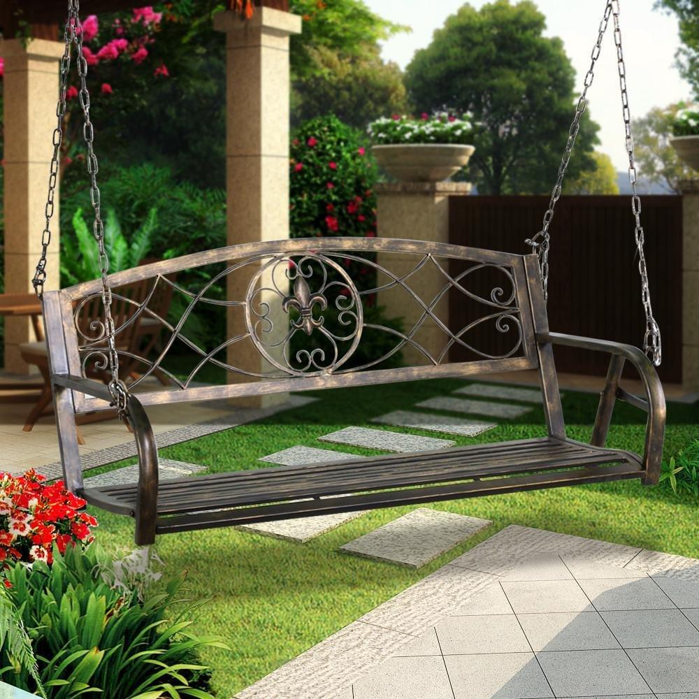 Yaheetech Iron Porch Swing Hanging Bench Chair Patio Bench Outdoor Swing Glider Chair Outdoor Funiture Fleur-De-Lis Design