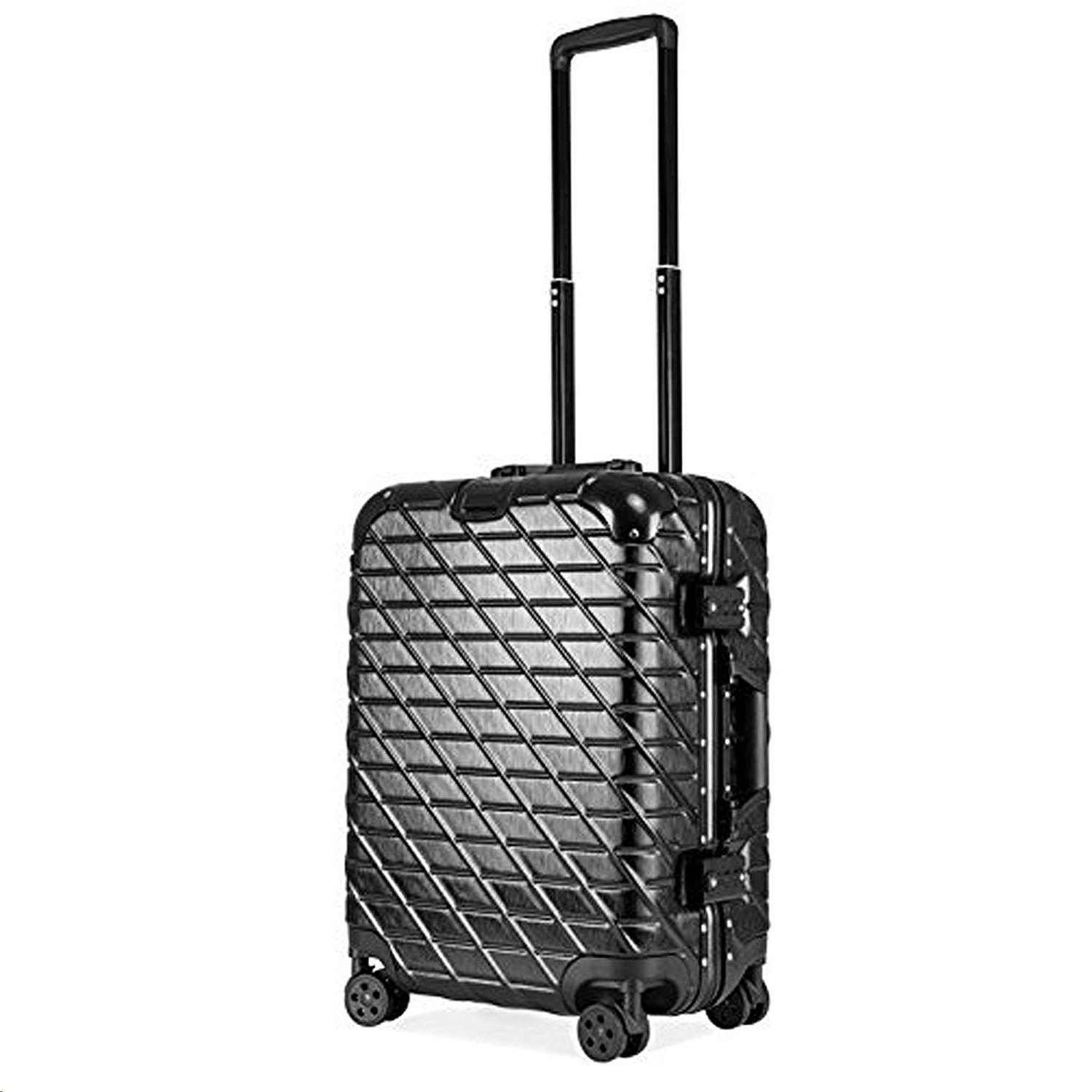ECCORE 20 inch Lightweight Suitcase ABS Hard Shell Travel 4 Wheel Case Carry On Hand Luggage (57CM/ 48L, Black)