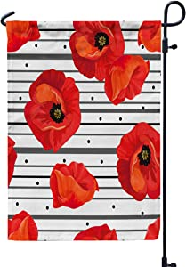 GROOTEY Welcome Outdoor Garden Flag Home Yard Decorative 12X18 Inches Red Poppies White Background Black Stripes Floral Pattern Big Bright Print Paper Double Sided Seasonal Garden Flags