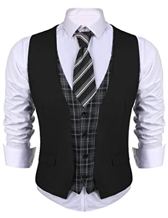 a3ed8e285f JINIDU Mens Business Suit Vest V Neck Skinny Layered Plaid Dress Wedding  Waistcoat Vest Black