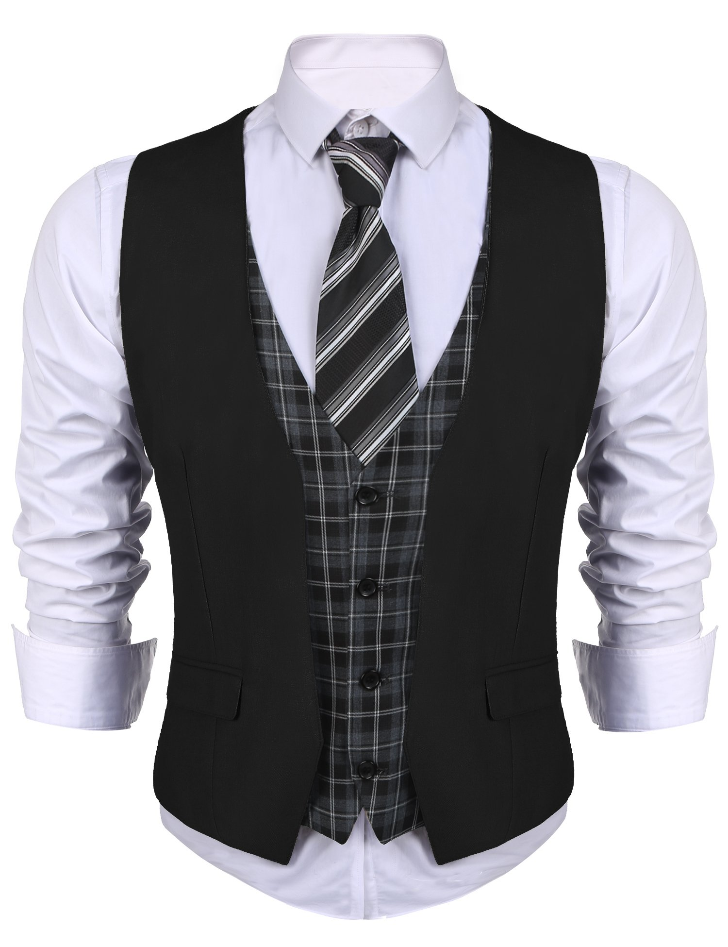 Coofandy Mens Sleeveless Casual Check Vest Fake Two Pieces Waistcouat, Black, Large
