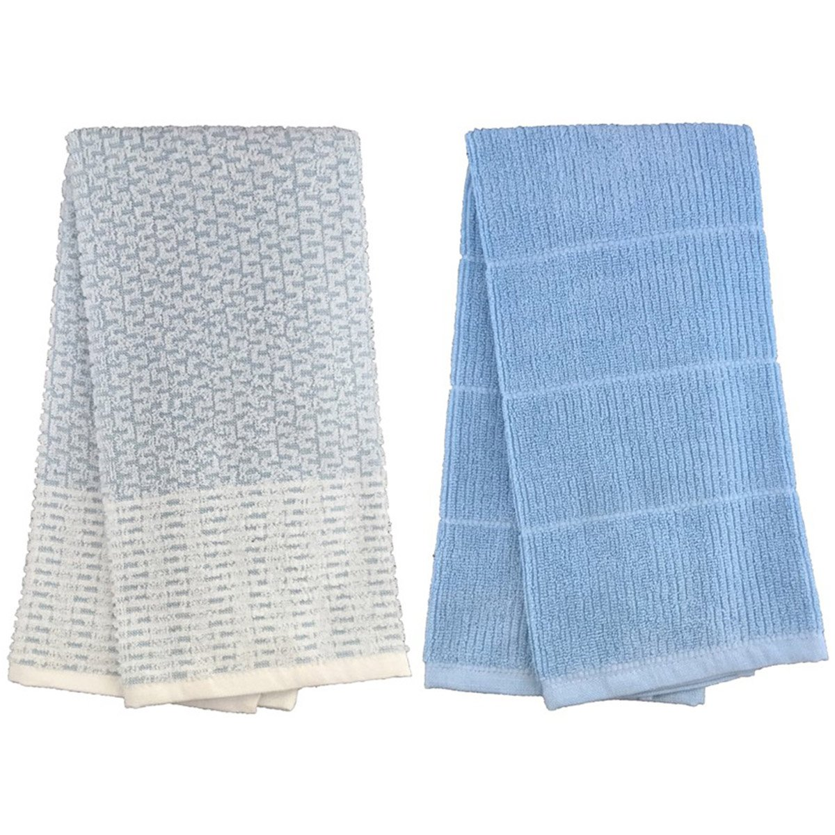 Set of 2, 100% Ringspun Cotton Premium Everyday Lourdes Terry Kitchen Towels Size : 16'' x 27''. (Light Blue)