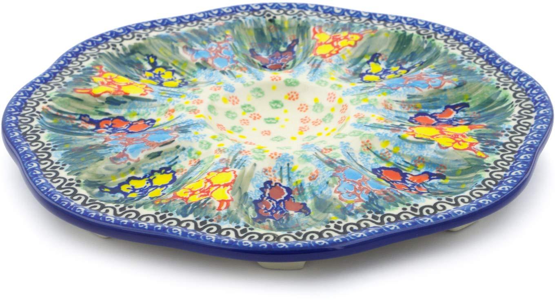 Polish Pottery 9¼-inch Egg Plate made by Ceramika Artystyczna (Spring Iris Theme) Signature UNIKAT + Certificate of Authenticity