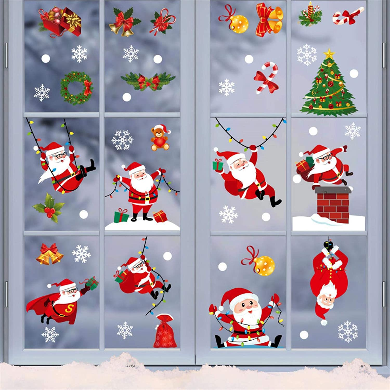 Sanyyanlsy Christmas Decoration Electrostatic Stickers Snowflake Elk Set Door Window Glass Stickers Home Room Decor,C