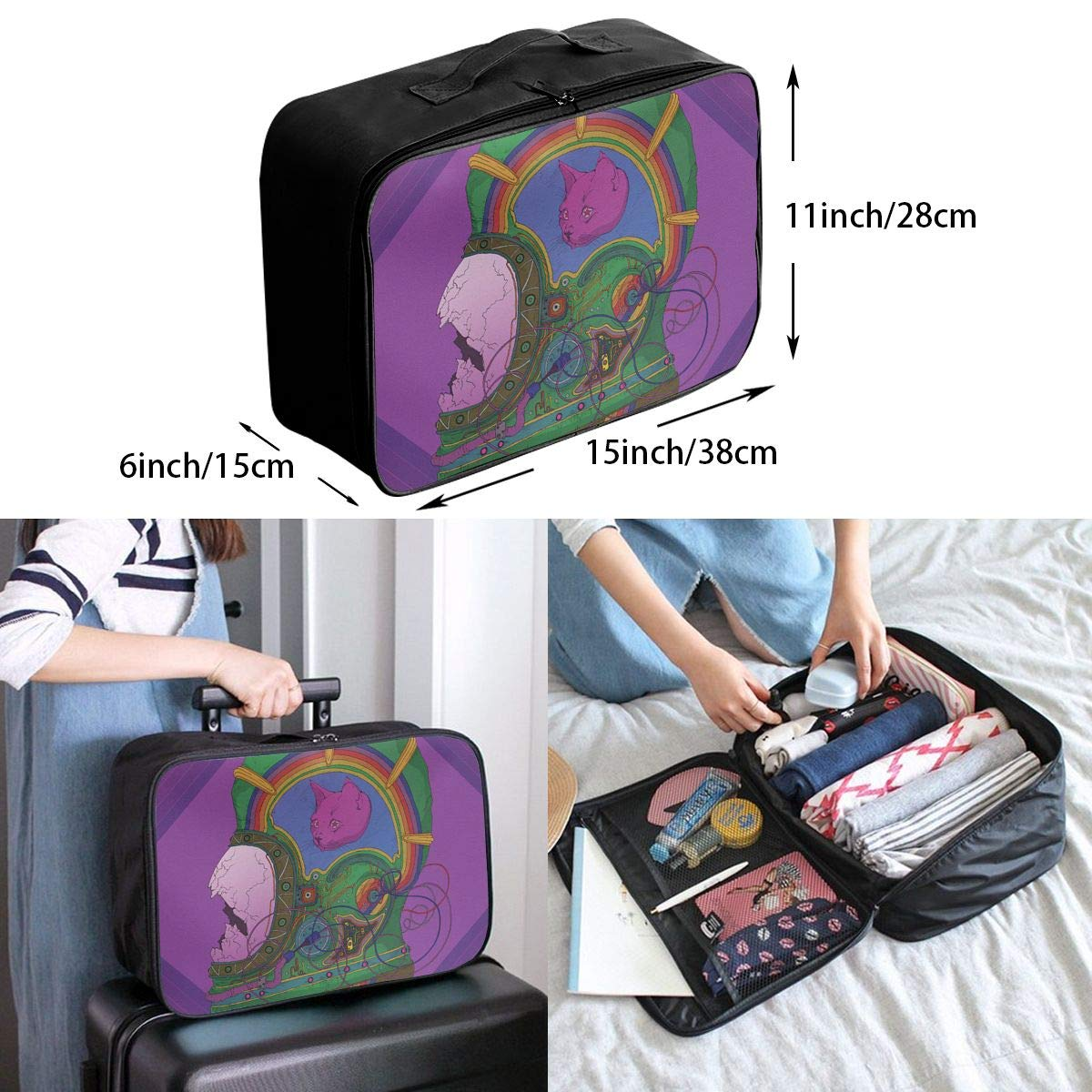 Travel Luggage Duffle Bag Lightweight Portable Handbag Abstract Space Astronaut Large Capacity Waterproof Foldable Storage Tote