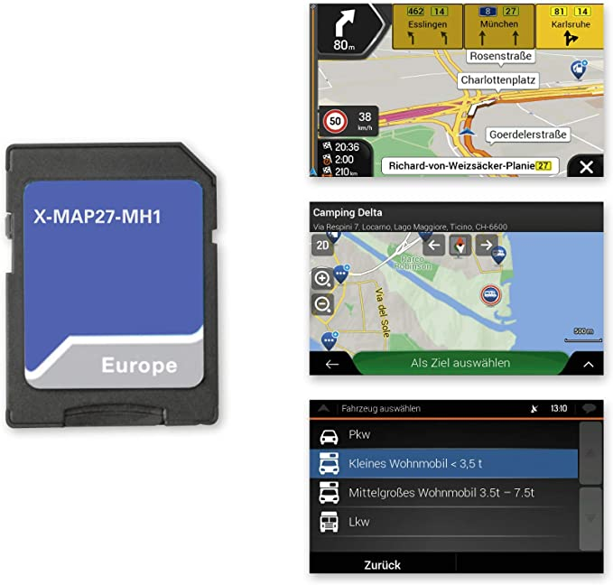 I.Package O Camping P Xzent X-MAP27-MH1: Micro SD Card with Motorhome GPS for Xzent Infotainer X-F270 Cards for Europe