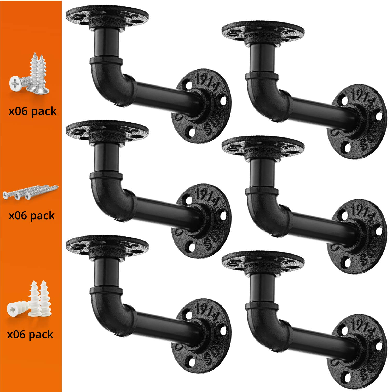 Pipe Bracket (6 Packs Black) - Industrial DIY L Pipe Shelf Bracket for Wood Floating Shelf Vintage Look - Rustic Pipe Decor Wall Mount with All Accessories Needed (Shelf Not Included) (6 packs L type) by DIY ZONE