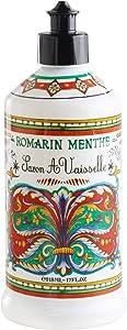 World Market Rosemary Mint Deruta Style Dish Soap - Perfect Kitchen Decor Antibacterial Soap - Organic Liquid Dishsoap with Italian Soap Dispenser - Dish Sanitizer to Everyone - 17 Fluid Ounce
