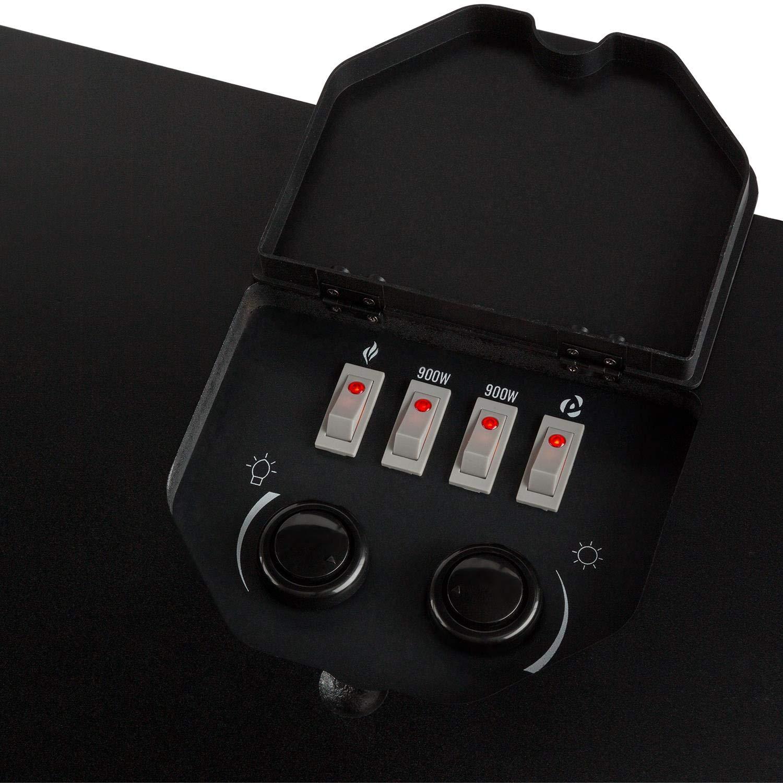 Fernbedienung /• matt-schwarz Klarstein Vienna /• Elektrischer Eckkamin /• Elektrokamin mit Flammeneffekt /• E-Kamin /• zuschaltbare Heizfunktion /• 950 oder 1900 Watt /• programmierbarer Wochentimer /• inkl