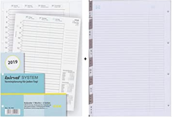 bind B540219 Kalendereinlage A4// 1 Woche = 2 Seiten f/ür 2019
