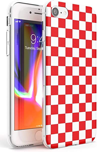 Rosso a Scacchi Slim Cover per iPhone 6 TPU Protettivo Phone Leggero con Modelli Astratto Controllato Scacchiera Plaid