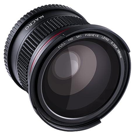 ffbe75c060688 58MM Fisheye -  Ultra Claro  Beschoi Lente de 0.35X Ojo de Pez de ...