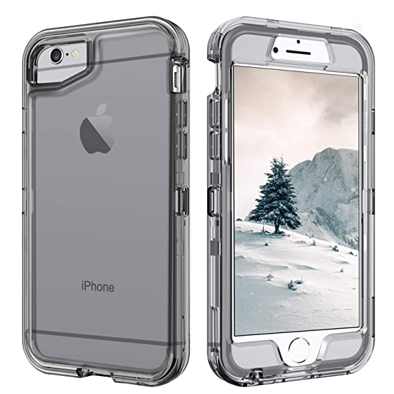 new product 56964 3c404 iPhone 6 Case Clear, iPhone 6S Case,DUEDUE Shockproof Drop Protection 3 in  1 Hybrid Hard Clear PC Covers Transparent TPU Bumper Protective Clear Case  ...