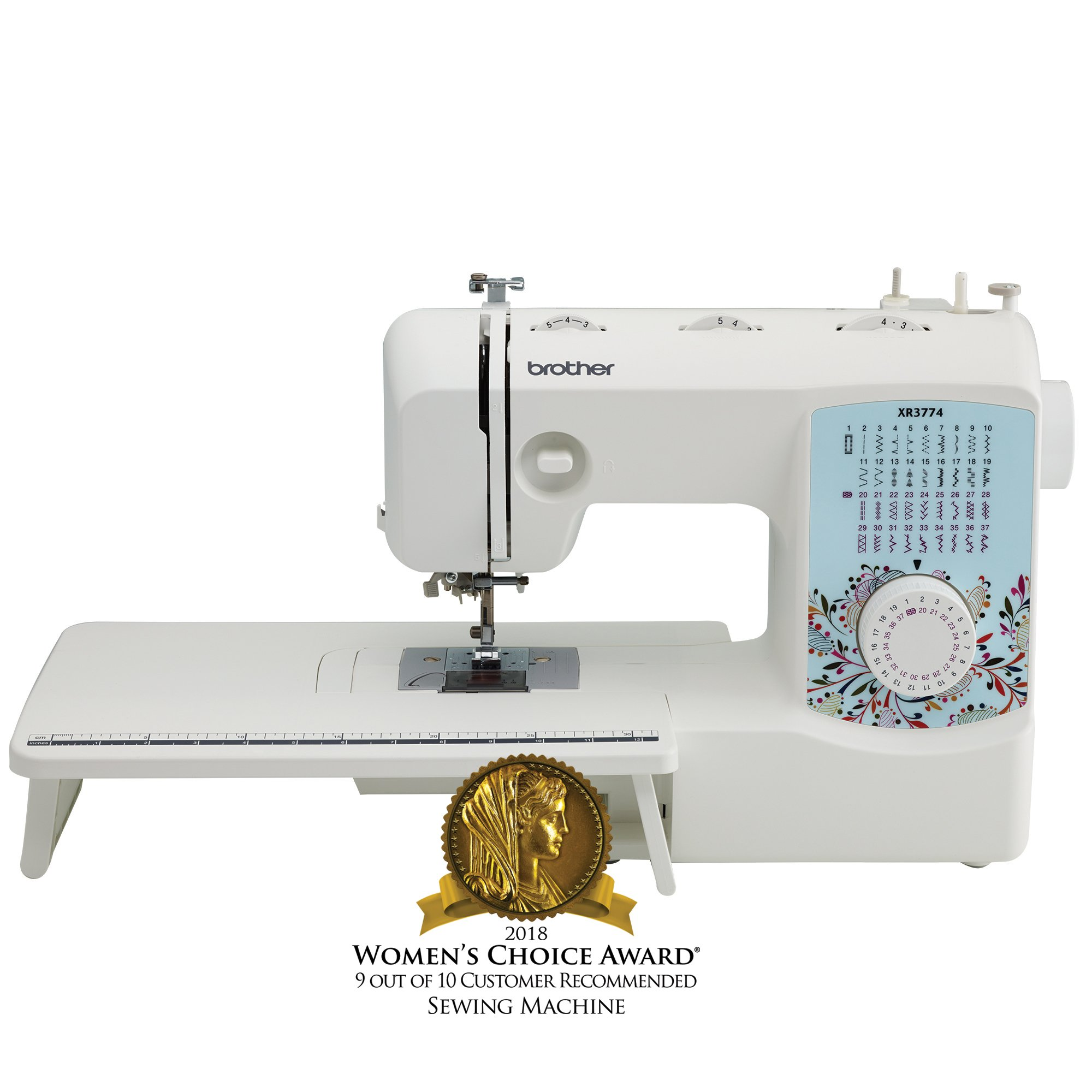 Brother XR3774 Full-Featured Quilting Machine with 37 Stitches, 8 Sewing Feet, Wide Table, and Instructional DVD, Red by Brother