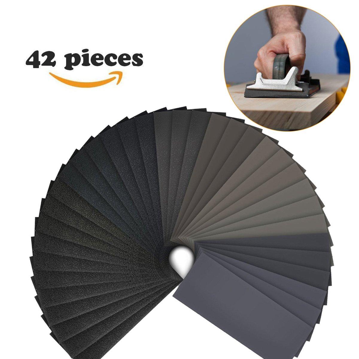 Papel de lija, 42 pcs 120 A 3000 Grit mojado y seco papel de lija Surtido para impermeable para Automotive, muebles de madera acabado de lijado y acabado de giro de madera Rhybom 42 Sheets - Lanhu