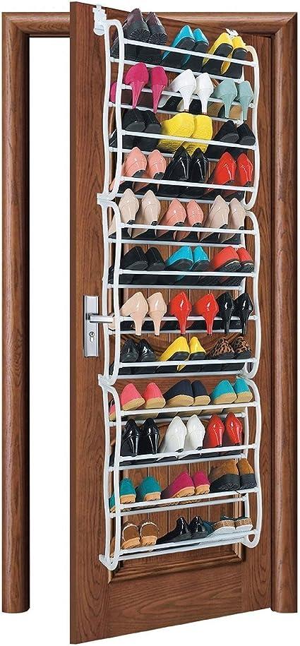 AMOS Zapatero para 36 Pares de Zapatos para Colgar sobre La Puerta con 12 Niveles Estantes Ajustable Soporte Organizador De Almacenamiento