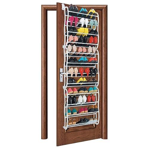 AMOS 36 Pair Over The Door Hanging Hook 12 Tier Shoe Rack Adjustable Shelf Organiser Holder