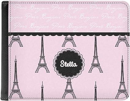 Paris Bonjour and Eiffel Tower Genuine Leather Mens Bi-fold Wallet Personalized