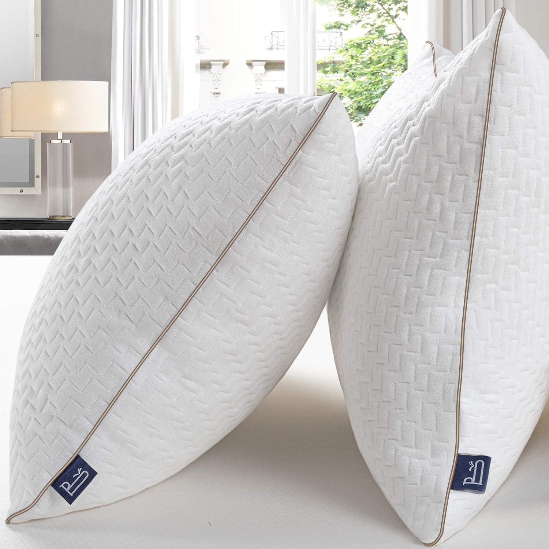 BedStory Almohada 42x70 Bambú Almohada Antiácaros 2 Pack con Funda de Lavable Almohada fibra con 80% de 3D Fibra + 20% de 7D Fibra de poliéster Relleno de Almohadas de Calidad Hotelera 【Nueva Versión】