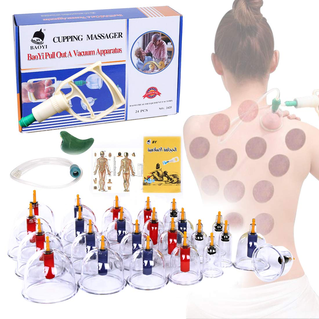 Cupping Therapy Sets, DEFUNX Vacuum Suction 24 Cups Sets for Cellulite Cupping Massage,Chinese Cupping Therapy Pump by DEFUNX