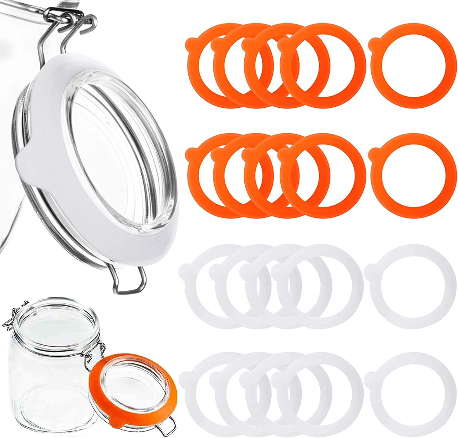 Lanstics 20 Pieces Silicone Jar Gaskets Replacement, Silicone Seals Airtight Silicone Gasket Sealing Rings, Leak-proof Rubber Seals Rings for Canning Jar, 3.7 inches(White,Orange)