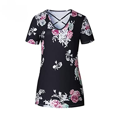 Acereima Summer Top 2018 Women Short Sleeve V-Neck Print Shirt Tunic Top t Shirt