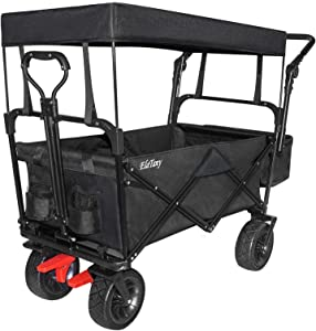 Elatany Heavy Duty Folding Outdoor Collapsible Utility Wagon Cart with Brake Big Wheels and Canopy for Grocery Beach Black 176Lbs Loading Capacity