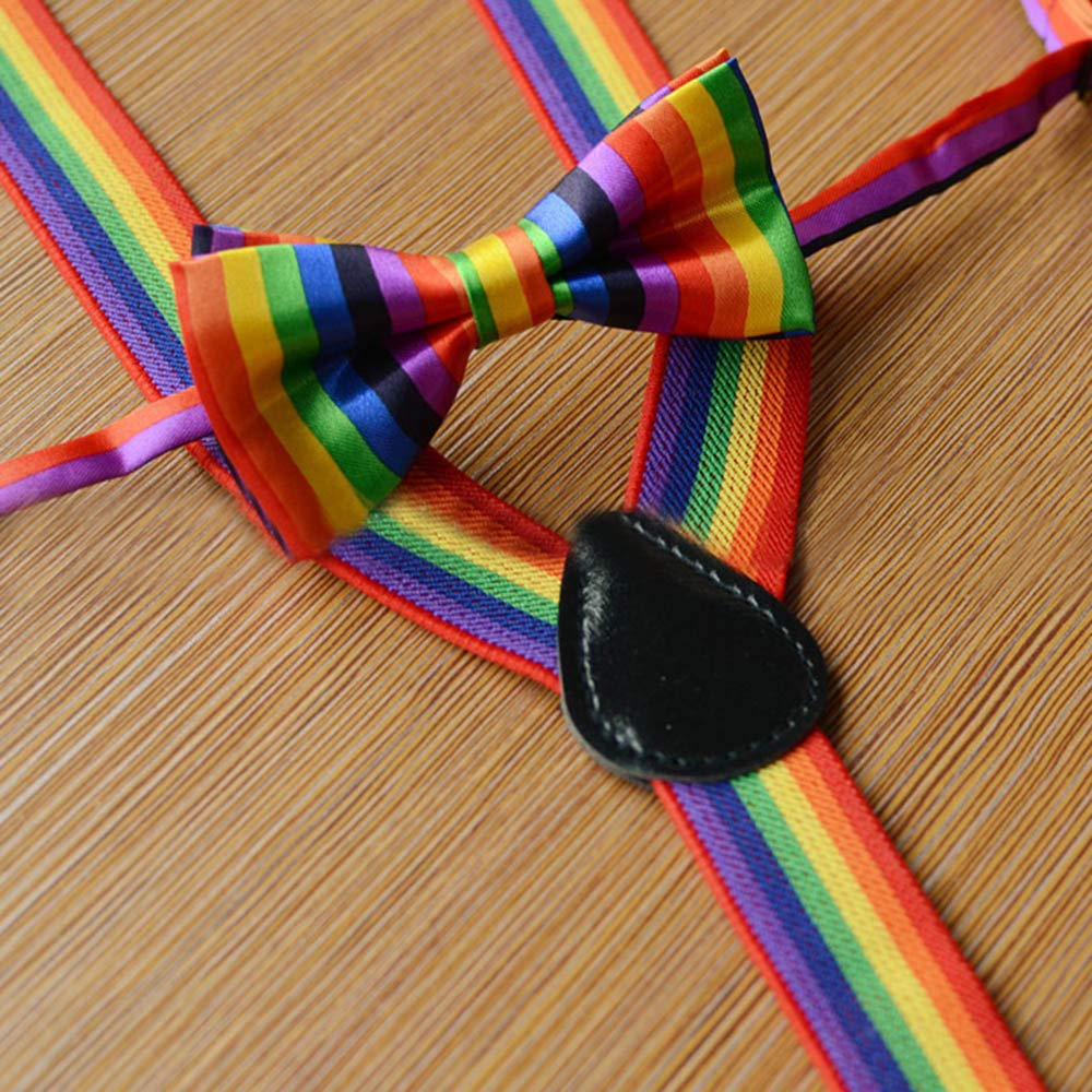 WaiiMak Kids Girls Boys Rainbow Multicolor Braces Suspenders and Rainbow Bow Tie Set (B) by WaiiMak (Image #4)