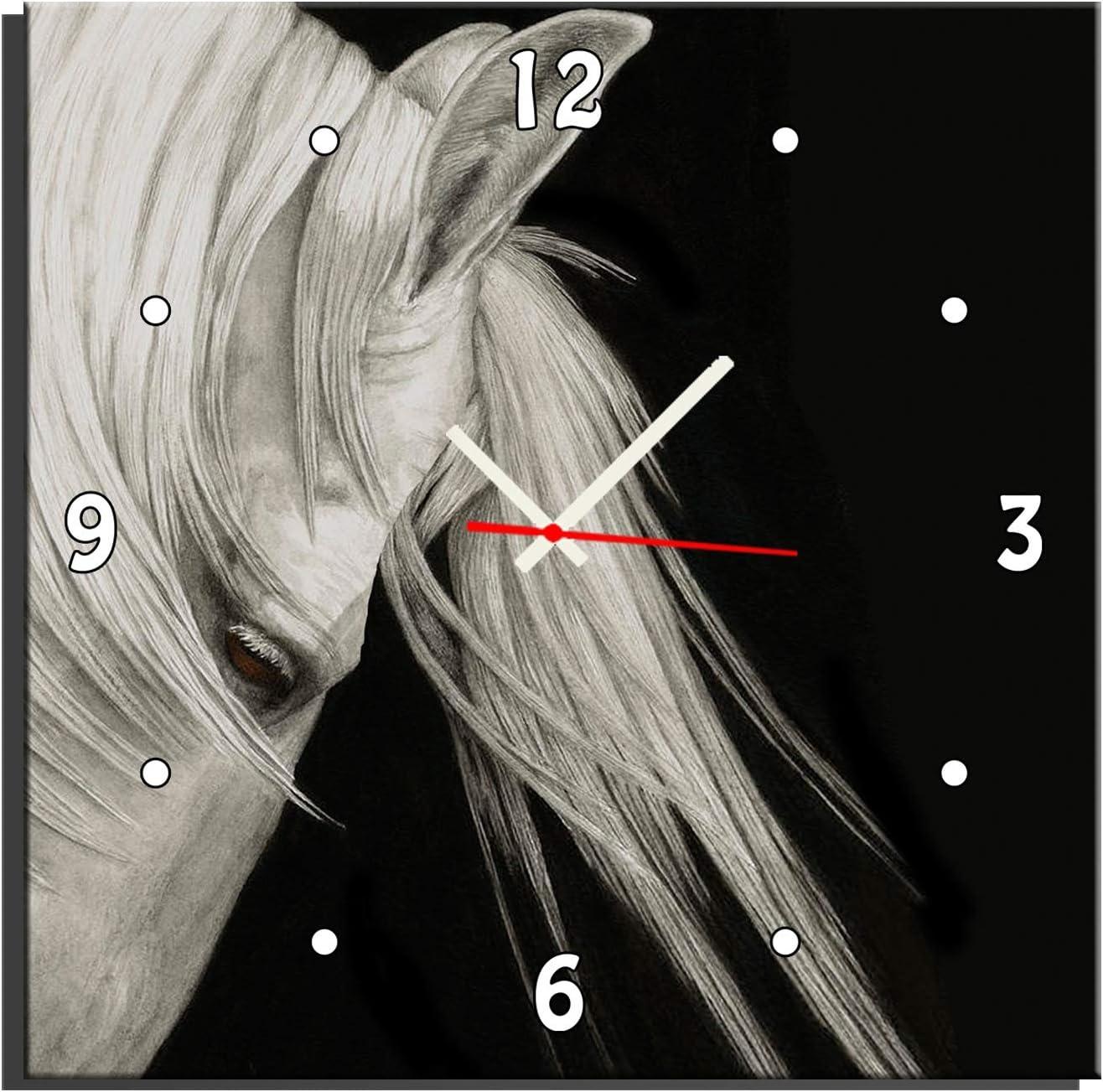 QSTRE Lienzo de Pintura Reloj de Pared. Patrón de Caballo Pintura Sin Marco Decoración de Pared. para Sala de Estar Dormitorio Oficina,60 * 60cm