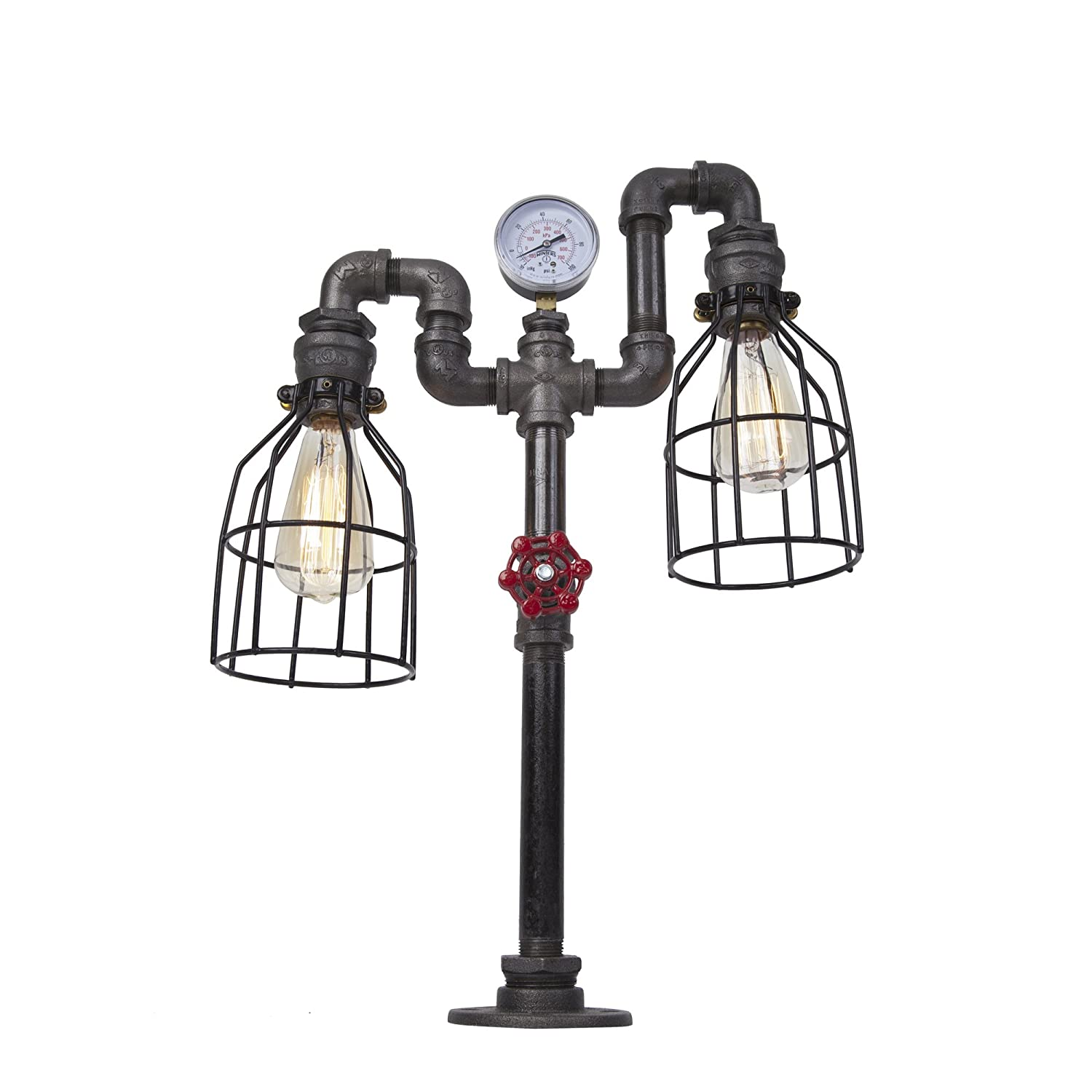 West ninth vintage industrial iron pipe table lamp with cage single cage double pulley amazon com
