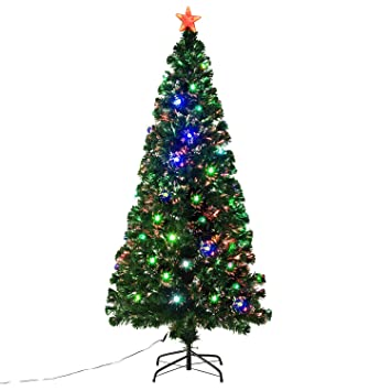 6 fiber optic w 24 led lights holiday pre lit artificial christmas tree