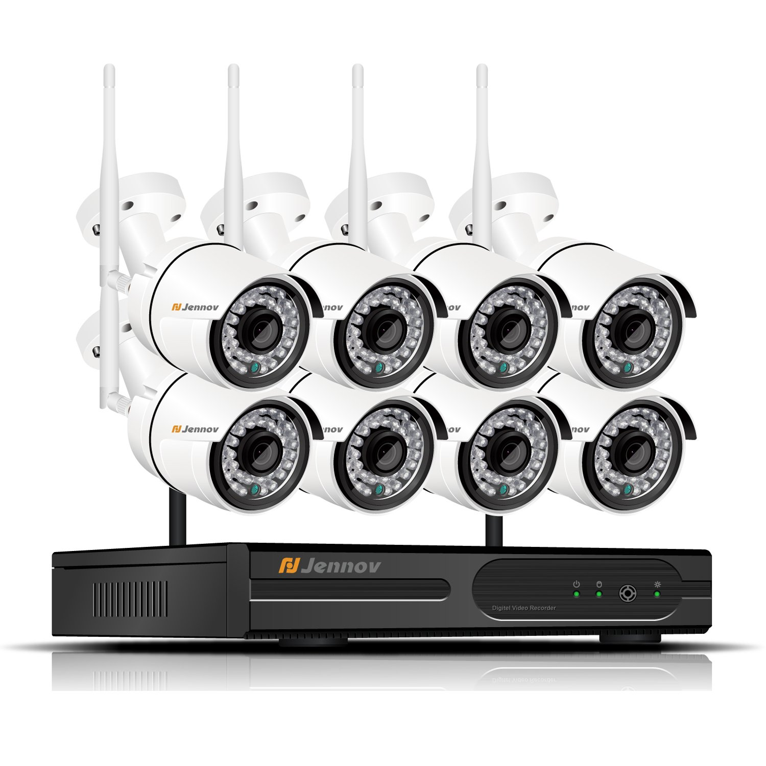 8 Channel Home Wireless Security Camera System WiFi Surveillance with 1080P NVR 8PCS 960P Outdoor CCTV IP Network Cameras Remote Control View No Hard Drive Jennov Security Camera System Wireless