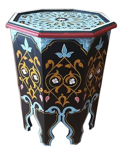 Moroccan Wood Side End Table Corner Coffee Handmade Moorish Black