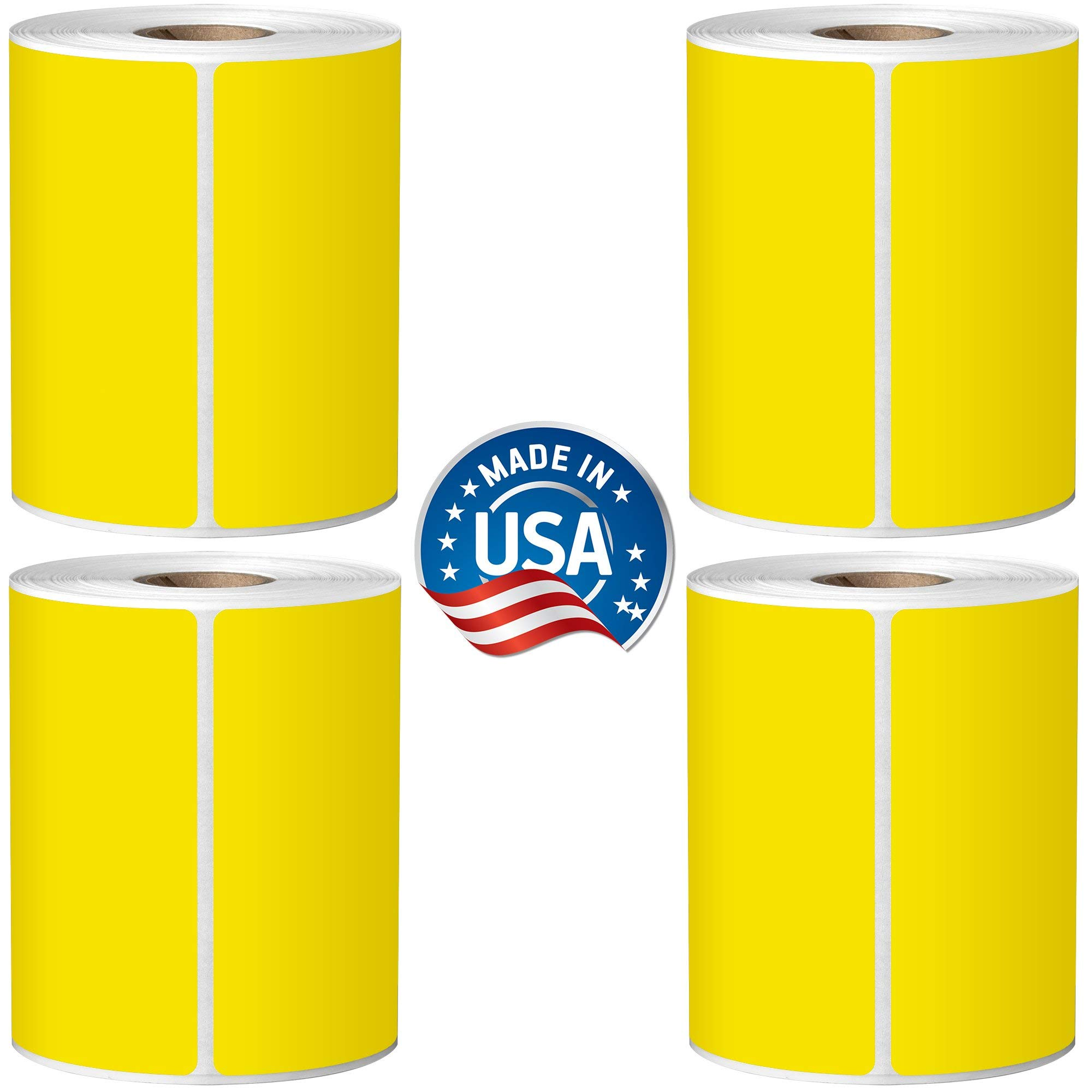 Direct Thermal Labels - 4'' x 6'' - Yellow - 1'' Core - Works with Zebra Thermal Desktop Printers, Datamax, Sato, Intermec and Honeywell Printers - Made in USA by Labels for Us