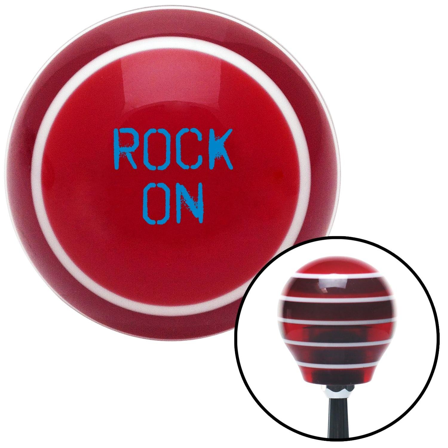 American Shifter 274623 Shift Knob Blue Rock On Red Stripe with M16 x 1.5 Insert