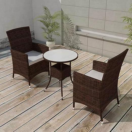 Fesjoy Juego de Comedor al Aire Libre Muebles de Jardín Patio de Madera Dura Invernadero Sillas de Mesa rústicas Interiores 5 Piezas de Resina Trenzada Marrón: Amazon.es: Hogar