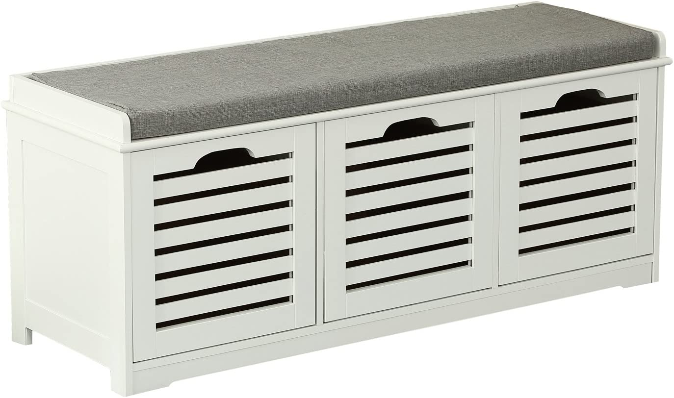 Orolay Storage Bench with 3 Crates Shoe Cabinet Soft Seat Cushion White