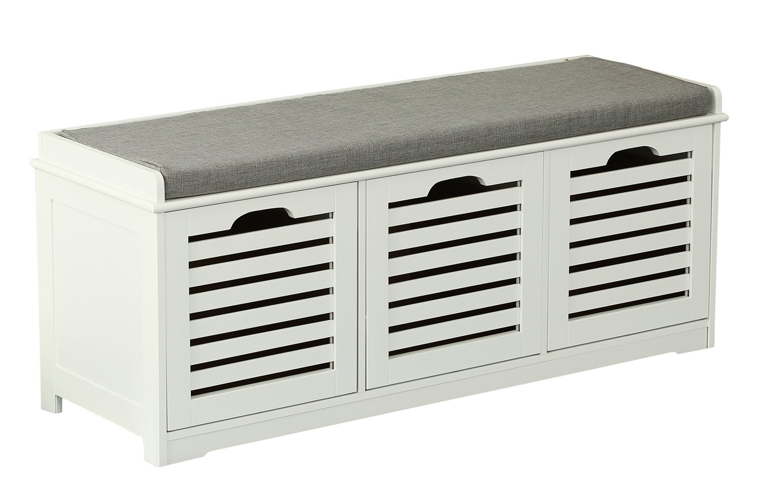 Orolay Storage Bench with 3 Crates Shoe Cabinet Soft Seat Cushion ZHXD23 White