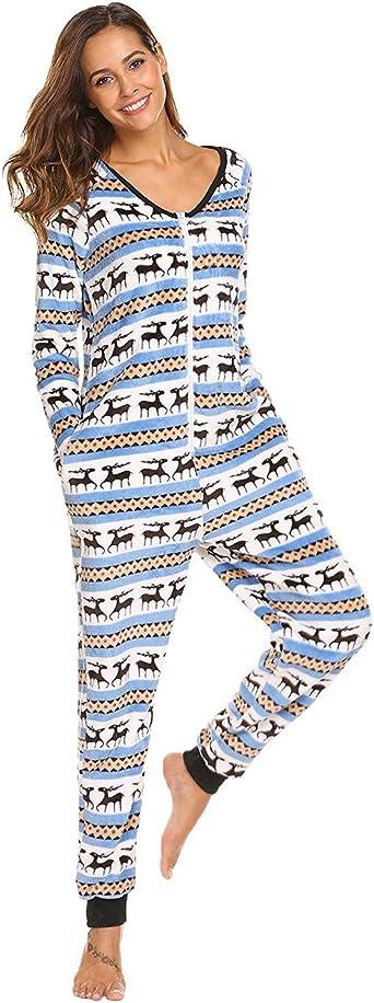 Mujer Mono Monos Pijamas Mujer Otoño Invierno Impresión V ...
