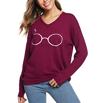 Abollria Women's Glasses Crew Neck Pullover Sweaters Casual Loose Fit Knitted Pullover Tops at Amazon Women's Clothing store