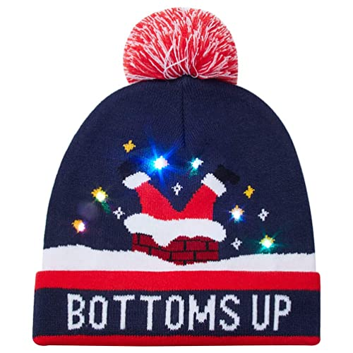 callm Unisex LED Light-up Knitted Ugly Sweater Holiday Xmas Christmas  Beanie Hat 890aafb13170