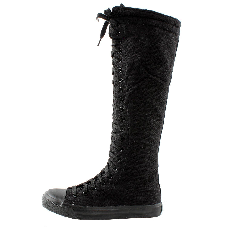 New Fasion Women Canvas Sneakers Punk flat Skatter Knee High Lace up Shoes (7;5, Graffiti) B0126GA26M 7 B(M) US Black