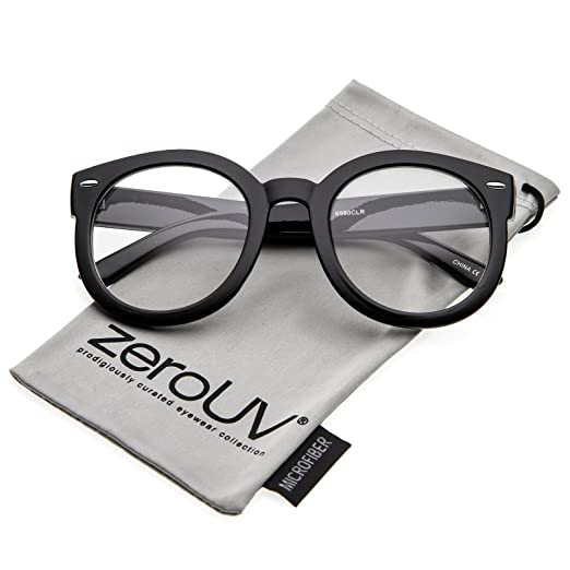 6c8e325585a zeroUV - Oversize Thick Arms Round Clear Lens Horn Rimmed Eyeglasses 53mm  (Black Clear