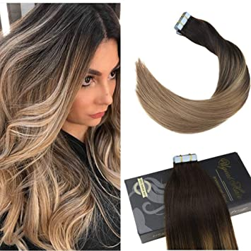 Amazon Com Ugeat 22 Tape In Hair Extensions Balayage Ombre Color