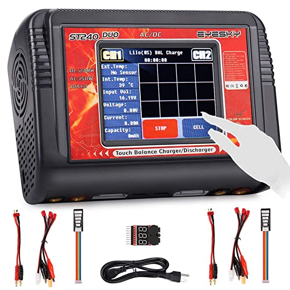 Amazon.com: LiPo Charger Dual RC Battery Balance Charger Touch Screen Discharger Duo AC150w DC240W 10A ST240 for 1-6S Li-ion Life NiCd NiMH LiHV PB Smart ...
