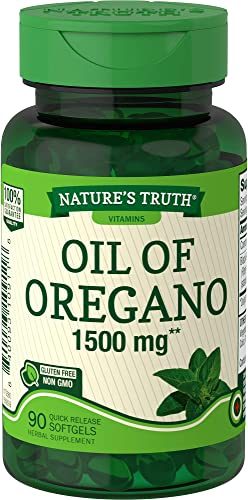 Oregano Oil Softgel Capsules 1500mg 90 Count Contains Carvacrol Non-GMO, Gluten Free by Nature s Truth