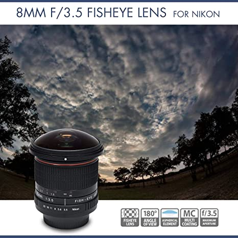 Vivitar - Lente de ojo de pez asférico de 8 mm f/3.5 para cámaras ...