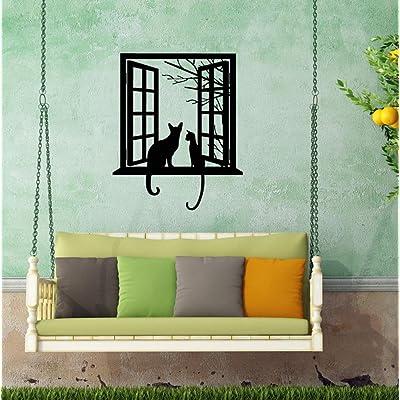 "BIBITIME Tree Branch Fake Window Black Cats Wall Art Stickers for Bedroom Living Room Coffee Shop Vinyl Decals Nursery Bedroom Kids Room Decor 16.92"" x 20.47"": Home & Kitchen"