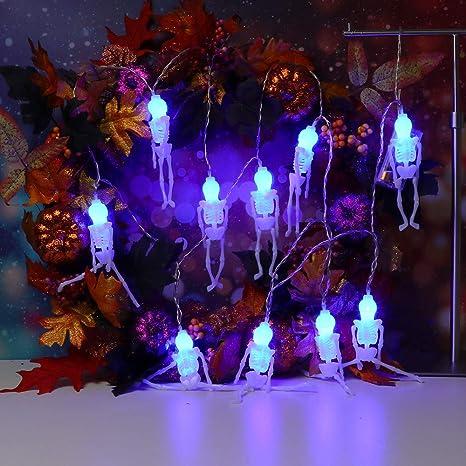 D Lichterkette,FeiliandaJJ 2.5M 10pc IP44 Wasserfest Halloween Skeleton Skelett Lichterkette LED Licht Hochzeit Party Halloween Innen//Au/ßen Haus Deko String Lights 2XAA Batterien